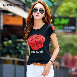 Rose Floral Print Tops Australia - Female T-shirts Red Rose T-shirt Fashion Print Rhinestone Cotton T-shirts For Women Short Sleeve O Neck Summer 2018 Diamond Tops Y19051301
