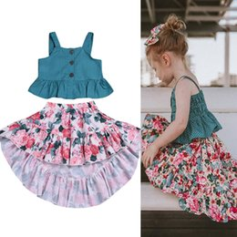 $enCountryForm.capitalKeyWord NZ - kids clothes 2 colors Summer children clothing set Girls Vest Tops+Print Flower Skirt 2Pcs kids designer clothes girls JY311