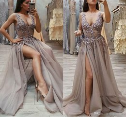 Beading Charms Australia - Sexy Spaghetti Occasion Prom Dresses 2019 Charming Beading V-Neck Split Appliques Sleeveless Front Evening Wear Gowns robes de soirée 2K19