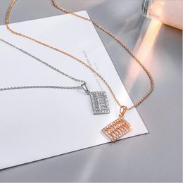 pendants abacus Australia - High Quality Luxury Rose Gold Silver Stainless Steel Abacus Pendant Necklace Women's Crystal Clavicle Chain Jewelry Gift