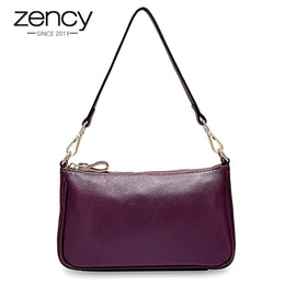 $enCountryForm.capitalKeyWord Australia - Zency Elegant Purple Women Shoulder Bag 100% Genuine Leather Handbag Black Hobos Fashion Lady Messenger Crossbody Purse Small #201360
