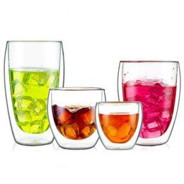 Double Walled Glasses Cups Australia - Creative Drinkware Mugs Heat Resistant Double Wall Glass Mug Transparent Tea Cups Coffee Milk Juice Healthy Drink Mug