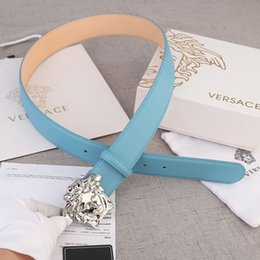 Silver Knit Fabric Australia - Light blue lychee sand bottom zj width 4.0mm silver buckle Mens Belt Authentic Official Belt With Box
