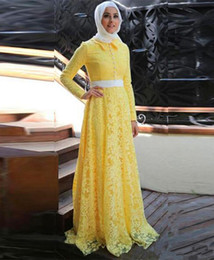 $enCountryForm.capitalKeyWord Australia - Bright Yellow Lace Muslim Evening Dresses with Sash Buttons Back Long Sleeves African Prom A Line Gowns