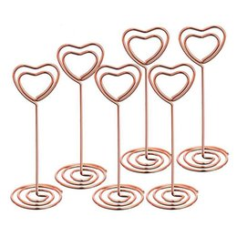 Wholesale Menu Holders Australia - Table Number Card Holders Photo Holder Stand Place Card Paper Menu Clips Holders, Heart Shape