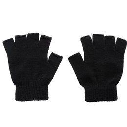 Knitted Gloves Men Australia - 1 Pair Winter Outdoor Black Knitted Fingerless Gloves Men Knitted Stretch Elastic Warm Half Finger Gloves Autumn Winter Fashion