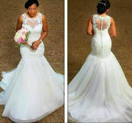 $enCountryForm.capitalKeyWord Australia - Wedding Dresses Bride Dresses Mermaid Flat Shoulder Lace Tulle Zipper Fake Button Tail Bride Dresses