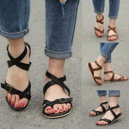 a56a16ec8b03 Sandals Women Flat 2019 Summer Sandals Strap Womens Ladies Flat Wedge  Espadrille Rome Tie up Platform Summer Shoes