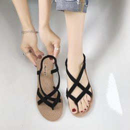Trend Sandals Australia - 2019 summer newest fashion trend female flat with Roman shoes casual flat toe comfortable Shallow mouth sandals female