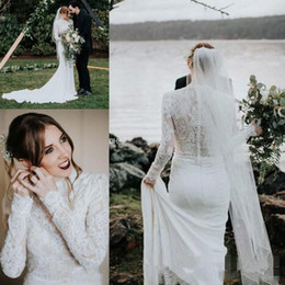 Simple muSlim wedding dreSS hijab online shopping - High Neck Country Mermaid Wedding Dresses with Long Sleeve Simple Lace Stain Muslim Hijab Style Bohemian Trumpet Wedding Gown
