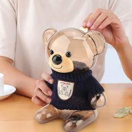 coined clothes NZ - Children Coin Piggy Bank Money Box Storage Bank Children Safe Cartoon Clothes Bear Plastic Transparent Gift T200319