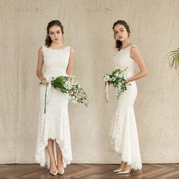$enCountryForm.capitalKeyWord Australia - Vintage White Lace Ankle Length Wedding Dresses 2019 Elegant Bateau Hi-Lo Bridal Gowns Custom Simple Backless Country Wedding Gowns