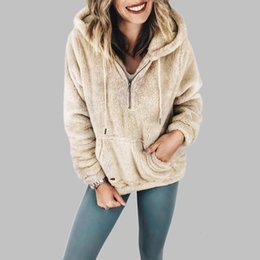 SweatShirt fur SleeveS online shopping - 2019 Women Fur Sweatshirts Faux Shearling Hooded Hoodies Zip Casual Fleece Female Winter Long Sleeve Pullovers Coat Big Size XL T191116