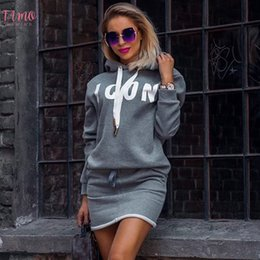 sport dress hoodie NZ - Hoodie Dress Lady Casual Letter Print Hooded Sweatshirt Dresses Autumn Winter Tops Women Long Sleeve Sport Dress Sportwear D25