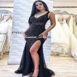 Crystal Evening Wraps Black Australia - Brilliant Mermaid Straps Side-Slit Beading Prom Dresses Sexy Black Crystal Beading Formal Evening Dresses Arabian Special Occasion Dresses