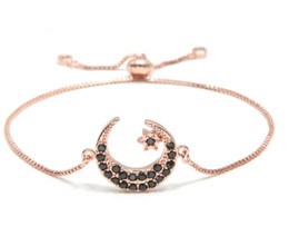 macrame rings Australia - gold silver Moon Star Chain bracelet micro pave cz rope black Cubic Zirconia adjusted Macrame bracelet Bangles cvc535 Jewelry