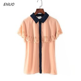 Nice promotioNs online shopping - Brand Big Promotion Women Blouse Top Cloak Style Short Sleeve Chiffon Blouse Shirts Summer Nice Quality