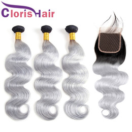 Discount gray black hair extensions Black Friday Sale 1B Grey Brazilian Virgin Hair Bundles With Closures Body Wave Ombre Human Hair Weaves Closure Colored