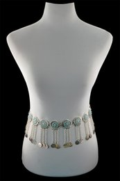 $enCountryForm.capitalKeyWord NZ - European and American retro metal sunflower coin belly fringe long waist chain body chain women Jewelry Gift