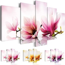 canvas spray Canada - Amosi Art 5 Pieces Canvas Wall Art Orchid Flower Picture Print Modern Home Living Room Decor Spray Painting Unframed