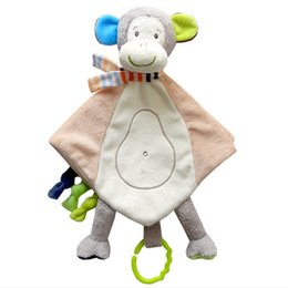 toy doll blankets Australia - Baby Towels Toys Soothing Towel With Teether Comforter Handkerchief Baby Blankets Infant Sensory Development Plush Doll Rattles