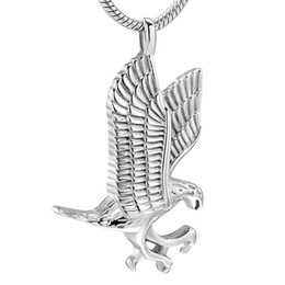 bulk linked chain UK - ZZL075 Bulk Wholesale 316L Stainless Steel Eagle Memorial Urn Necklace For Women Men Keepsake Cremation Jewelry Hold Pet Ashes