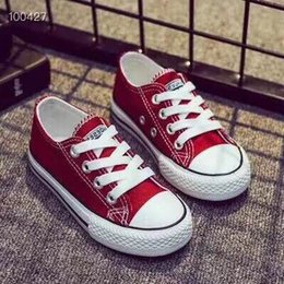 Wholesale Canvas High Shoes Australia - Kids Designer Shoes 2019 New Fashion Solid Color Canvas Shoes Casual Classic Logo Board Trend High Shoe Teens Boys Girls 4 Style