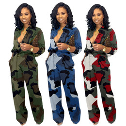 Camouflage bodysuit online shopping - Women camouflage print jumpsuits sexy lapel neck rompers long sleeve bodysuit designer fall winter clothing casual loose overalls