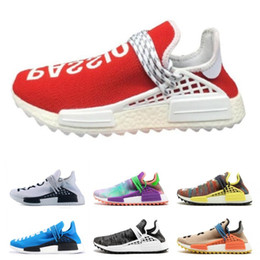 golf blanks NZ - Wholesale human race Hu trail x pharrell williams PW men running shoes Solar Pack Afro Holi Blank Canvas women sports mens sneaker trainers