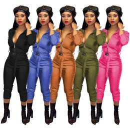 wholesale women full bodysuits UK - Women high stretch Jumpsuits & Rompers PU zipper belt leggings bodysuits fall winter clothing sexy club sportswear lapel neck hot sell 1761