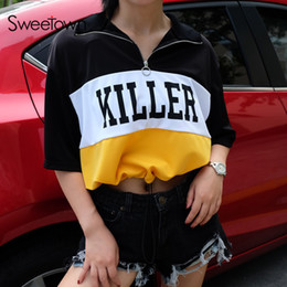 $enCountryForm.capitalKeyWord Australia - Sweetown Autumn Korean Style Oversized T Shirt Casual Women Short Sleeve T-shirts Cute Striped Printed Hippie Crop Top Tshirt J190427