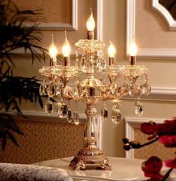 gold table lamp crystal Australia - Paris led wedding candelabra Restaurant crystal table lamp Indoor lighting Kitchen table light abajur gold colored candle holder candlestic