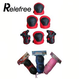 Knee Skateboard Australia - Relefree 6 Pcs Outdoor Skating Protective Gear Sets Elbow Knee Pads Bike Skateboard Protective Gear Pad For Kids Outdoor Tool