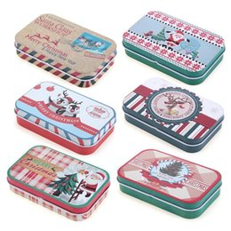 Tin Boxes Wholesale NZ - Creative Christmas Mini Candy Sugar Tin Box Rectangle Wedding Gifts Packing Case Jewelry Coins Headphones Storage Boxes