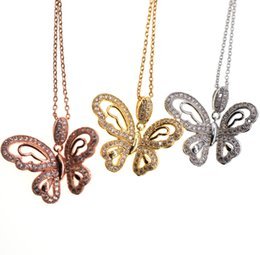 2cf0767fff Classic Elegant Korean Girl Woman's Butterfly Shape Zircon Pendant Chain  Necklaces New Design Crystal Silver Gold Rose Gold Copper Jewelry