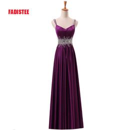 $enCountryForm.capitalKeyWord Australia - New arrive party prom dress Vestido de Festa A-line luxury beading V-neck pleat satin long gown with zipper
