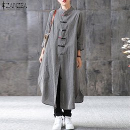 Kimono Long Femme NZ - 2019 Women Maxi Long Dress Zanzea Mandarin Collar Long Sleeve Vestido Casual Buttons Kaftan Robe Femme Plus Size Ladies Dresses Y190427