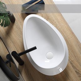 modern wash basins UK - Bathroom Sinks Designer Modern Washing Basin Bowl White Ceramic Vessel Basin With Drain Soft Hose Toilet Lavatory Sink