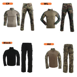 hunting clothing set 2019 - Combat Clothes Set Tactical Camouflage Army Combat Cargo Pants Long Sleeve T-shirts with Knee&Elbow Pads cheap hunting c