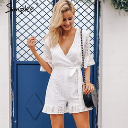 Women S Cotton Jumpsuits NZ - Simplee Sexy Deep V-neck Jumpsuit Romper Women Ruffled Hollow Out Embroidery Cotton White Playsuit Elegant Sashes Jumpsuit Short Y19060501