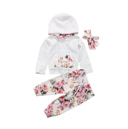 Wholesale Kids Baby Girls Spring Sweatshirt Hoodies floral Pants Headband Outfit Set Children Clothes Outfit