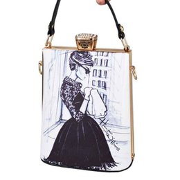 painting faces UK - Fashion Cartoon Characters Face Painting Bag Pu Women Clutches Totes Bag Party Handbags Lady Crossbody Bag Evening Clutch Purse Y19061301