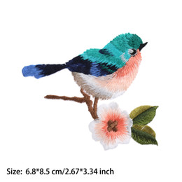 Pattern Decor Australia - 1 Pc Cute Bird Flower Pattern Embroidery Sew Iron On Patch Badge Applique Patch With Glue Beautiful Clothes Decor Accessories