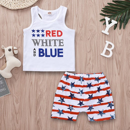 Red White Blue Tutus Australia - US Flag Little Girls 2pcs Suits Independence Day Red White And Blue Letters Printing Sleeveless Tees Striped Shorts Kids Girls Boys Clothing