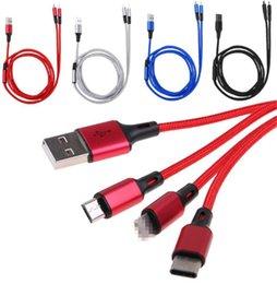 Телефонные кабели 3 IN 1 USB кабель Позолоченный USB зарядный кабель 2A Тип C Micro USB-C для Android на Распродаже