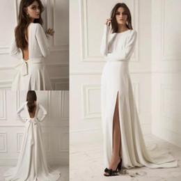 $enCountryForm.capitalKeyWord NZ - 2019 lihi hod Split Wedding Dresses Long Sleeves Satin Bridal Gowns Backless robe de mariée Plus Size Boho Wedding Dress