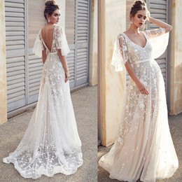 quality beach wraps NZ - 2019 Sexy Beach V-neck A Line Wedding Dresses Illusion Lace Open Back Bridal Gowns Boho Wedding Dress Cheap High Quality Gowns