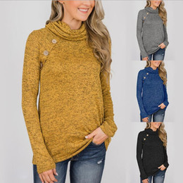 Sweater knit tightS online shopping - Women Button Sweater Colors Long Sleeve Pleated High Round Collar Hoodie Pullover Tight Knit Maternity Tops OOA6038