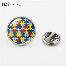 $enCountryForm.capitalKeyWord NZ - 2019 New Autism Awareness Pin Stainless Steel Glass Cabochon Jewelry Silver Unique Lapel Pin
