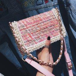 $enCountryForm.capitalKeyWord Canada - Sweet Lady Party Bag 2019 New Women's Designer Handbag High Quality Woolen Weaving Women Bag Pearl Chain Shoulder Messenger Bag